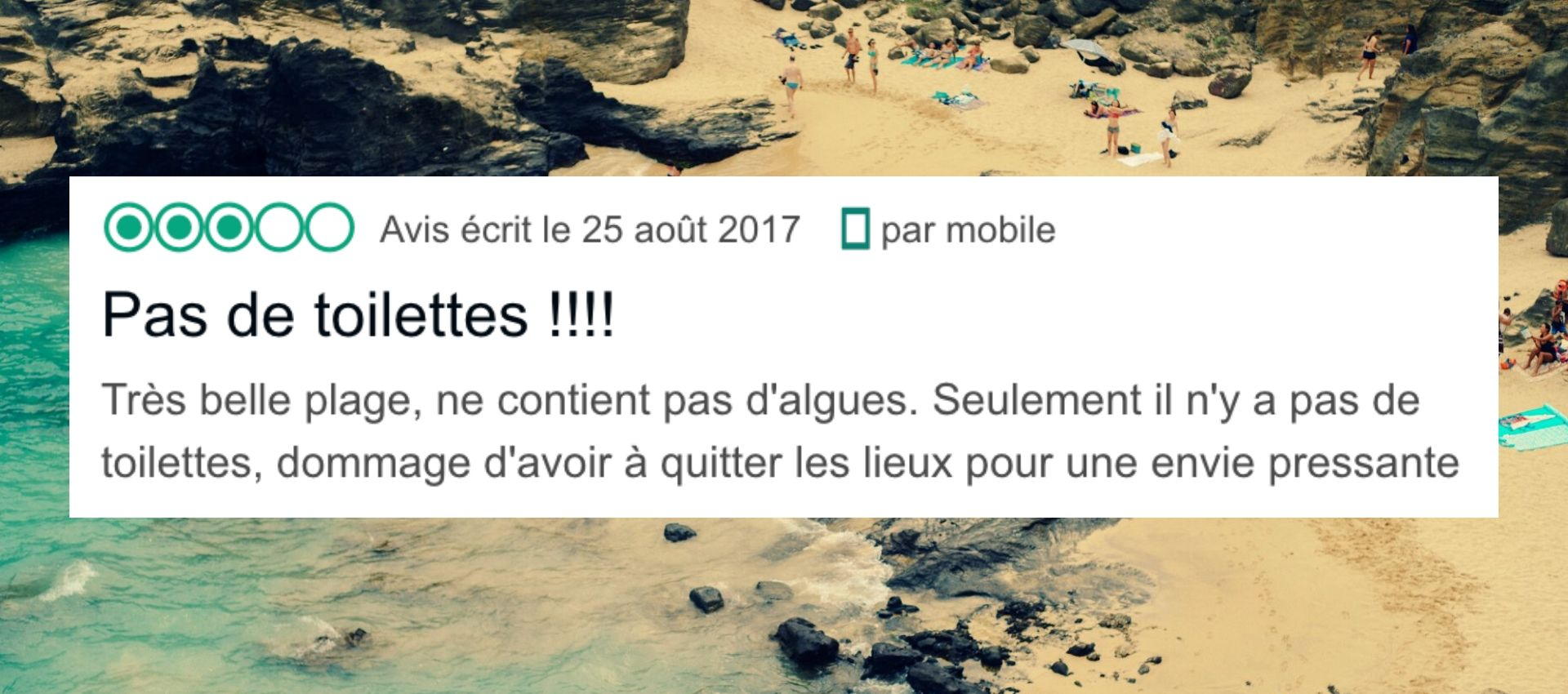 avis tripadvisor sur le manque de toilettes sur une plage