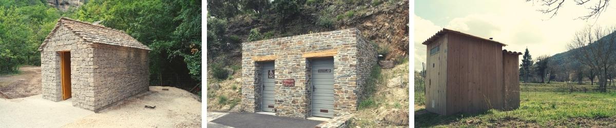 Toilettes sèches extérieures en bois ou pierres sur-mesure